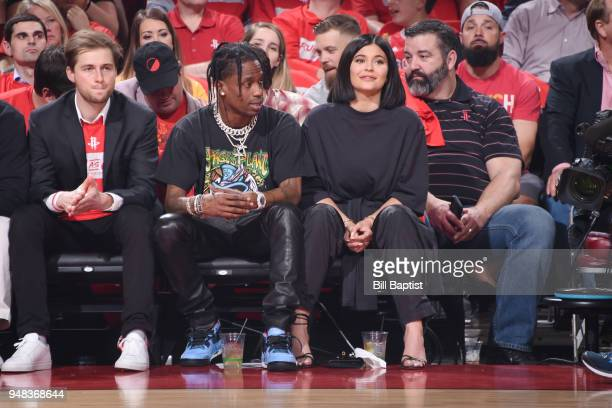 Travis Scott and Kylie Jenner attend the game as the Minnesota Timberwolves take on the Houston Rockets during Game Two of Round One of the 2018 NBA...