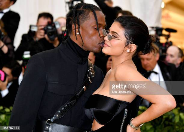 Travis Scott and Kylie Jenner attend the Heavenly Bodies Fashion The Catholic Imagination Costume Institute Gala at The Metropolitan Museum of Art on...