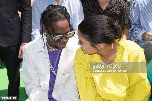 Travis Scott and Kylie Jenner attend the Louis Vuitton Menswear Spring/Summer 2019 show as part of Paris Fashion Week Week on June 21 2018 in Paris...