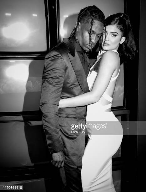 "Travis Scott and Kylie Jenner attend the premiere of Netflix's ""Travis Scott: Look Mom I Can Fly"" at Barker Hangar on August 27, 2019 in Santa..."