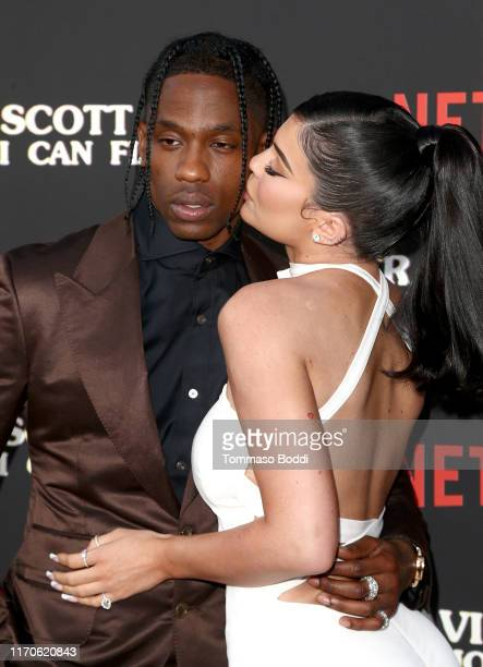"Travis Scott and Kylie Jenner attend the Travis Scott: ""Look Mom I Can Fly"" Los Angeles Premiere at The Barker Hanger on August 27, 2019 in Santa..."