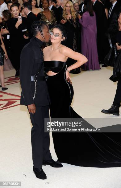 Travis Scott and Kylie Jenner attends Heavenly Bodies Fashion The Catholic Imagination Costume Institute Gala at the Metropolitan Museum of Art in...