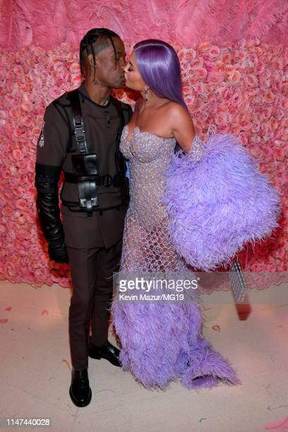 Travis Scott and Kylie Jenner attends The 2019 Met Gala Celebrating Camp Notes on Fashion at Metropolitan Museum of Art on May 06 2019 in New York...