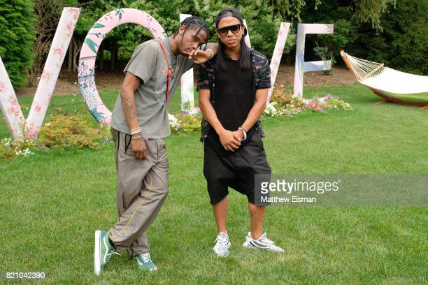 Travis Scott and Michael Mente celebrate #REVOLVEintheHamptons Close Out Party with Moet Chandon on July 22 2017 in Bridgehampton New York