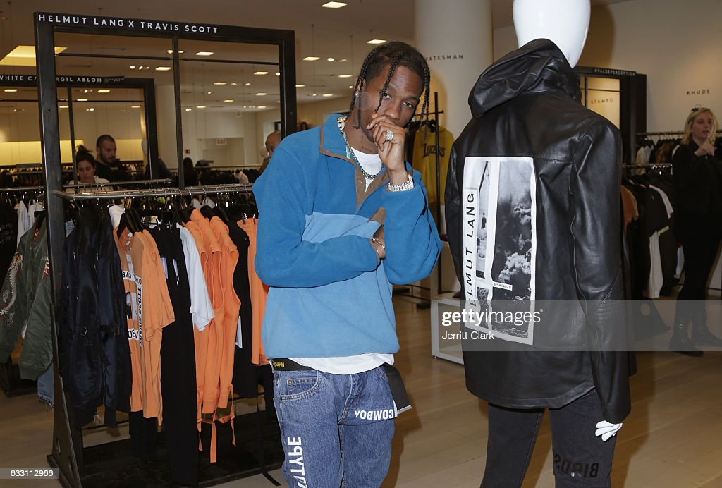 Travis Scott appears at Barneys New York in Beverly Hills to view his Helmut Lang X Travis Scott collection at Barneys New York on January 30, 2017 in Beverly Hills, California.