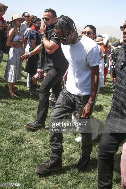 Travis Scott attends Sunday Service during the 2019 Coachella Valley Music And Arts Festival on April 21 2019 in Indio California