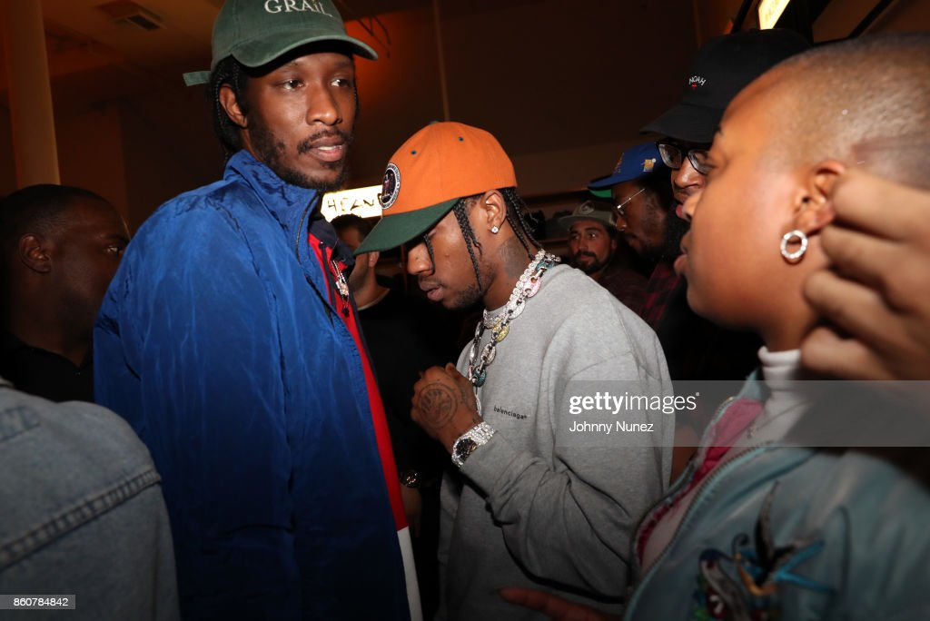 Travis Scott (c) attends the Ksubi and Travis Scott Collaboration Launch on October 12, 2017 in New York City.