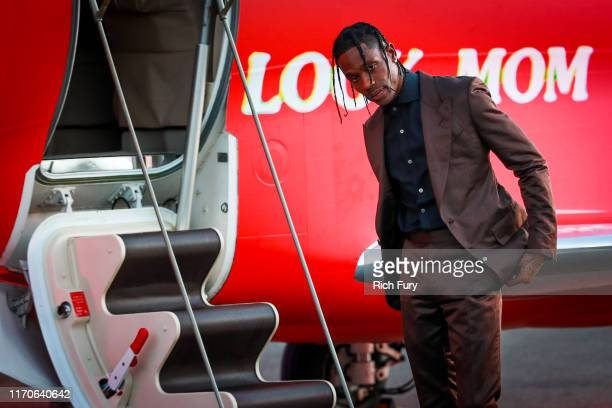 Travis Scott attends the premiere of Netflix's Travis Scott Look Mom I Can Fly at Barker Hangar on August 27 2019 in Santa Monica California