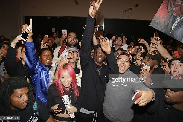 Travis Scott greets fans and signs autographs at his 'Hood Toyota' PopUp Shop on November 18 2016 in Los Angeles California