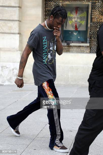 Travis Scott is seen leaving a Cartier store during Paris Fashion Week Haute Couture Fall/Winter 20172018 on July 6 2017 in Paris France