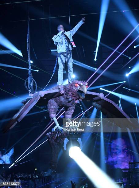 Travis Scott on stage during the MTV EMAs 2017 held at The SSE Arena Wembley on November 12 2017 in London England