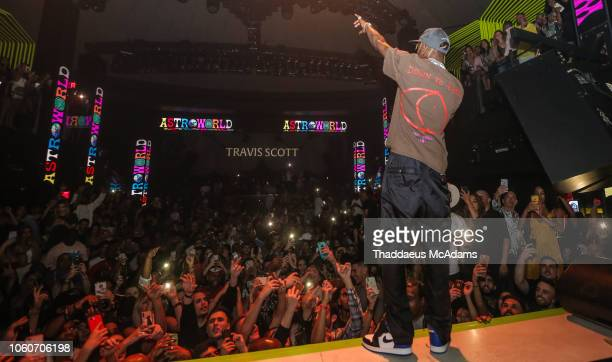 Travis Scott performs at LIV nightclub at Fontainebleau Miami on November 12 2018 in Miami Beach Florida