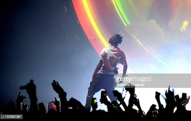 Travis Scott performs at Spectrum Center in Charlotte NC on Sunday March 24 2019 Scott's performance was part of his Astroworld Tour