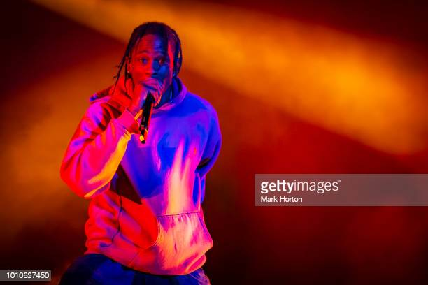 Travis Scott performs at the Osheaga Music and Art Festival at Parc JeanDrapeau on August 3 2018 in Montreal Canada
