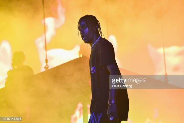 Travis Scott performs during 2018 Lollapalooza at Grant Park on August 2 2018 in Chicago Illinois