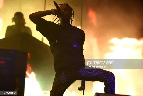 Travis Scott performs during Lollapalooza 2018 at Grant Park on August 2 2018 in Chicago Illinois