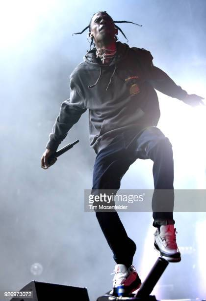 Travis Scott performs during the 2018 Okeechobee Music Festival at Sunshine Grove on March 3 2018 in Okeechobee Florida