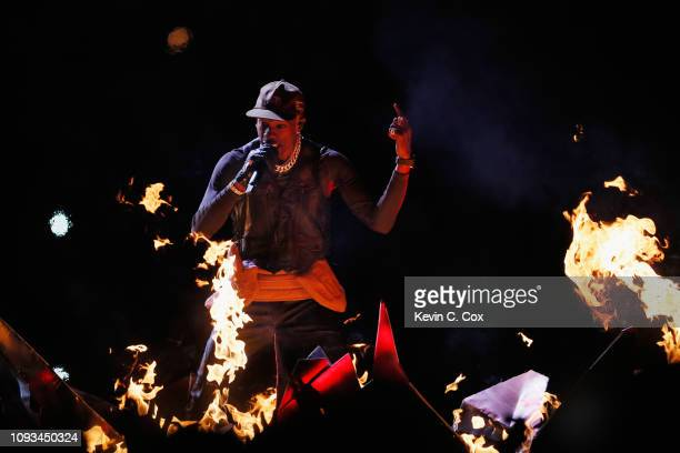 Travis Scott performs during the Pepsi Super Bowl LIII Halftime Show at MercedesBenz Stadium on February 3 2019 in Atlanta Georgia