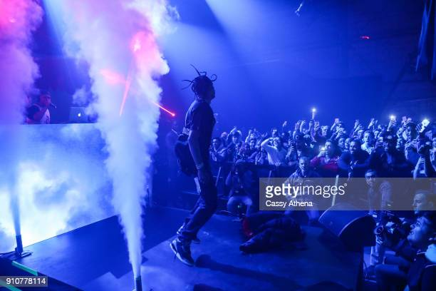 Travis Scott performs live at the Jordan Brand Future of Flight Showcase on January 25 2018 in Studio City California