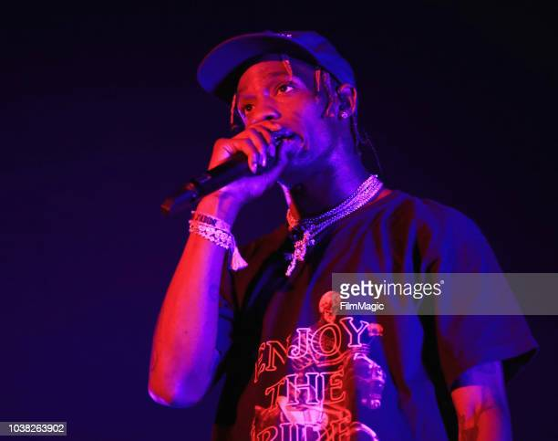 Travis Scott performs on Bacardi Sound of Rum Stage during the 2018 Life Is Beautiful Festival on September 22 2018 in Las Vegas Nevada