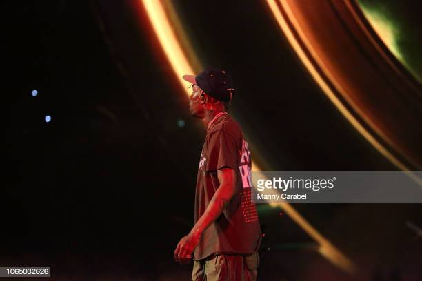 Travis Scott performs on stage during the ASTROWORLD Wish You Were Here Tour at Prudential Center on November 24 2018 in Newark New Jersey