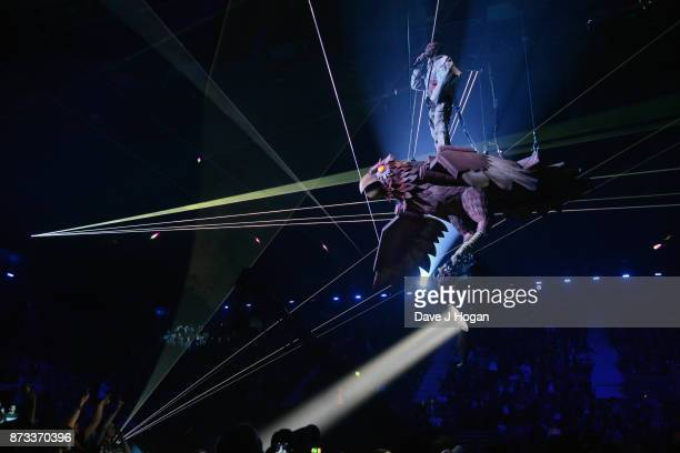 Travis Scott performs on stage during the MTV EMAs 2017 held at The SSE Arena Wembley on November 12 2017 in London England