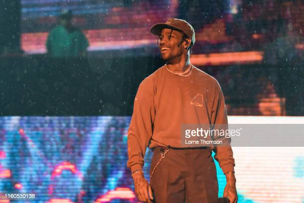 Travis Scott performs on stage during Wireless Festival 2019 on July 06, 2019 in London, England.