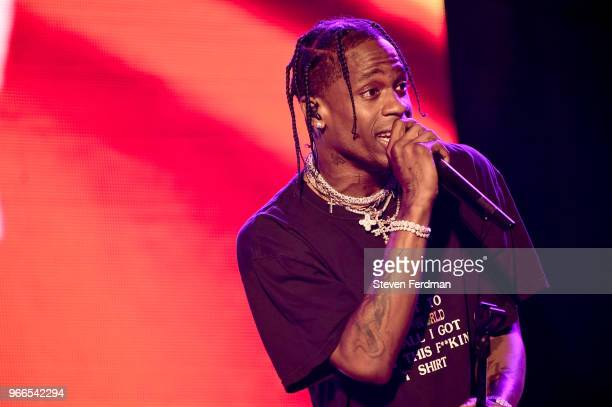 Travis Scott performs on stage on Day 2 of the 2018 Governors Ball Music Festival on June 2 2018 in New York City
