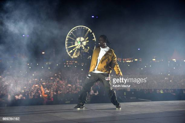 Travis Scott performs on the Coachella Stage during day 3 of the Coachella Valley Music And Arts Festival at the Empire Polo Club on April 16 2017 in...