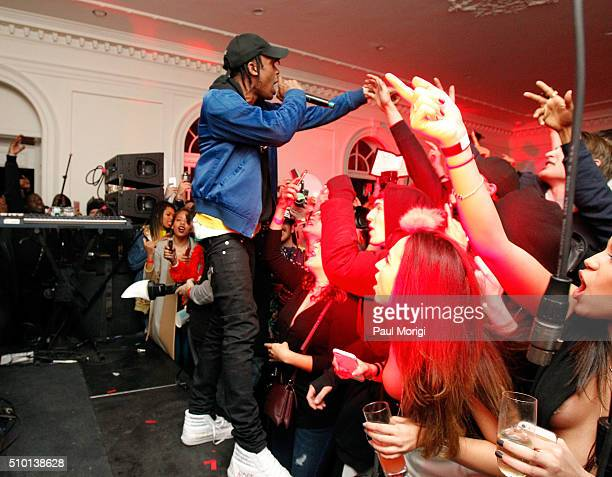 Travis Scott performs onstage at the after party celebrating DIESEL's Madison Avenue flagship on February 13 2016 in New York City