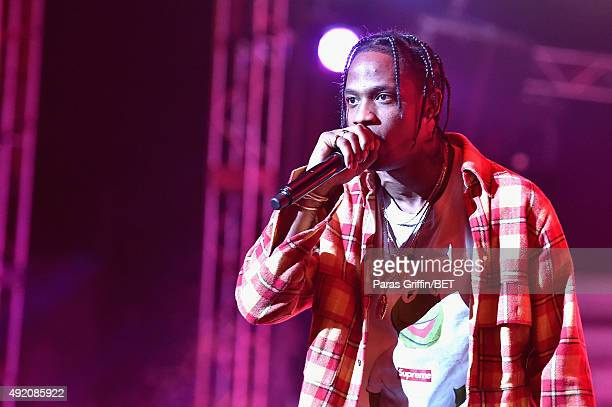 Travis Scott performs onstage at the BET Hip Hop Awards Show 2015 at the Atlanta Civic Center on October 9 2015 in Atlanta Georgia