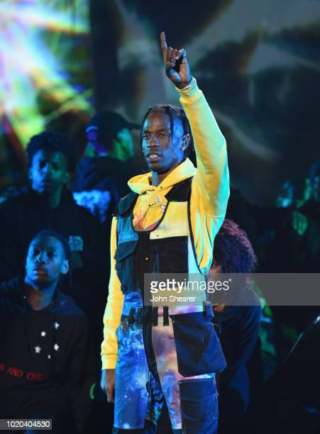 Travis Scott performs onstage during 2018 MTV Video Music Awards at Radio City Music Hall on August 20 2018 in New York City