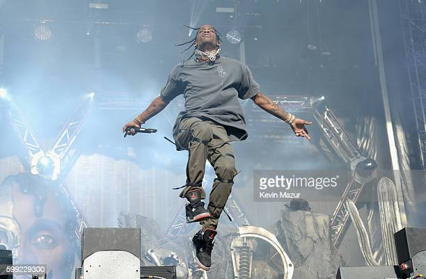 Travis Scott performs onstage during the 2016 Budweiser Made in America Festival at Benjamin Franklin Parkway on September 4 2016 in Philadelphia...