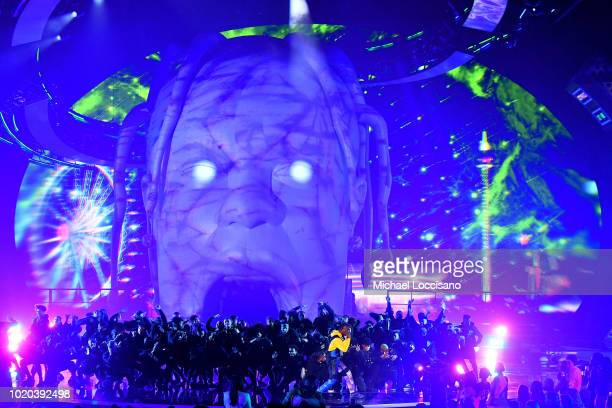 Travis Scott performs onstage during the 2018 MTV Video Music Awards at Radio City Music Hall on August 20 2018 in New York City