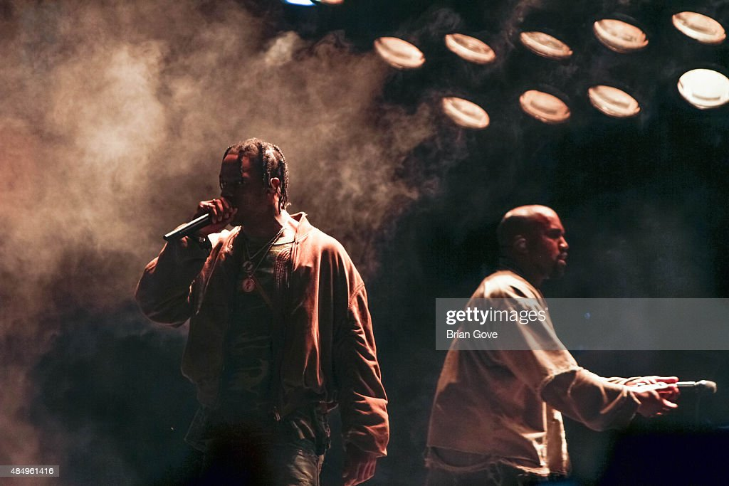 Travis Scott performs with Kanye West at FYF Fest 2015 at LA Sports Arena & Exposition Park on August 22, 2015 in Los Angeles, California.