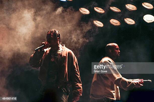Travis Scott performs with Kanye West at FYF Fest 2015 at LA Sports Arena Exposition Park on August 22 2015 in Los Angeles California