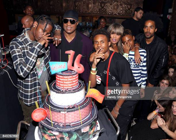Travis Scott Stevie Wonder Kailand Morris Kai Milla Morris Mandla Kadjay Carl Stevland Morris and Kwame Morris attend Kailand's Swaggy 16th birthday...