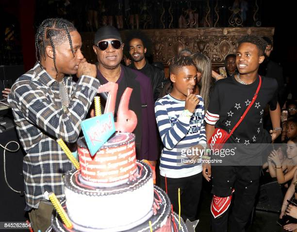 Travis Scott Stevie Wonder Kwame Morris Mandla Kadjay Carl Stevland Morris and Kailand Morris attend Kailand's Swaggy 16th birthday party at Belasco...