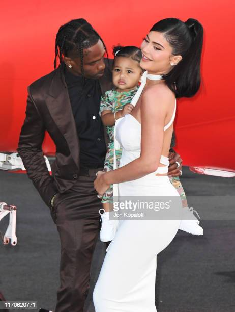 "Travis Scott, Stormi Webster and Kylie Jenner attend the Premiere Of Netflix's ""Travis Scott: Look Mom I Can Fly"" at Barker Hangar on August 27, 2019..."