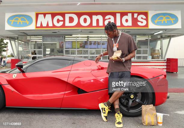 Travis Scott surprises crew and customers at McDonald's for the launch of the Travis Scott Meal on September 08, 2020 in Downey, California.