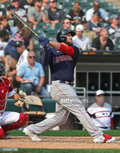 Travis Shaw of the Boston Red Sox bats against the Chicago White Sox at Guaranteed Rate Field on September 12, 2021 in Chicago, Illinois. The White...