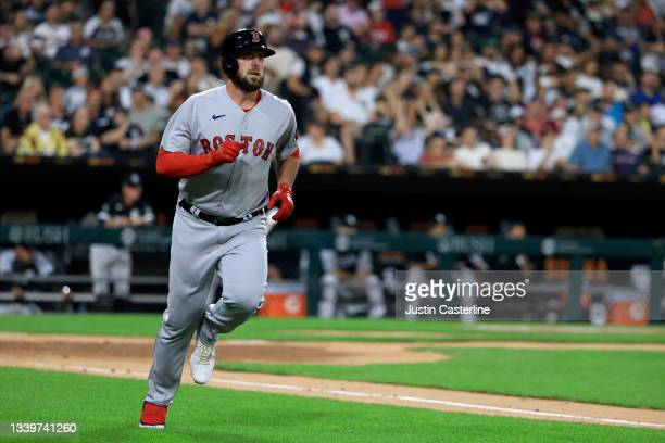 Travis Shaw of the Boston Red Sox runs the bases after hitting a three run home run during the 3rd inning against the Chicago White Sox at Guaranteed...