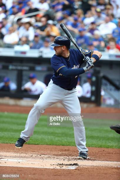 Travis Shaw of the Milwaukee Brewers bats against the New York Mets during their game at Citi Field on June 1 2017 in New York City