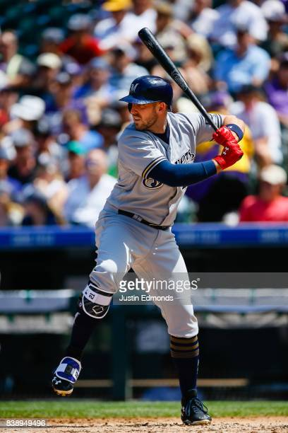 Travis Shaw of the Milwaukee Brewers bats during a game against the Colorado Rockies at Coors Field on August 20 2017 in Denver Colorado