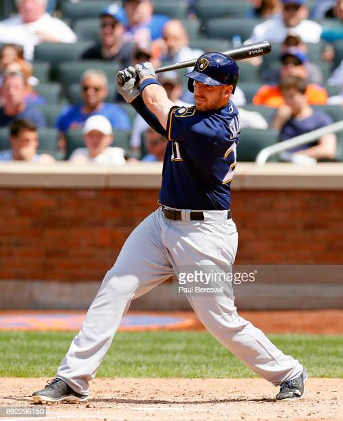 Travis Shaw of the Milwaukee Brewers bats during an MLB baseball game against the New York Mets on June 1 2017 at CitiField in the Queens borough of...