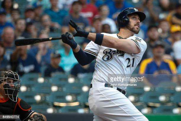 Travis Shaw of the Milwaukee Brewers bats during the first inning against the Miami Marlins at Miller Park on September 16 2017 in Milwaukee...
