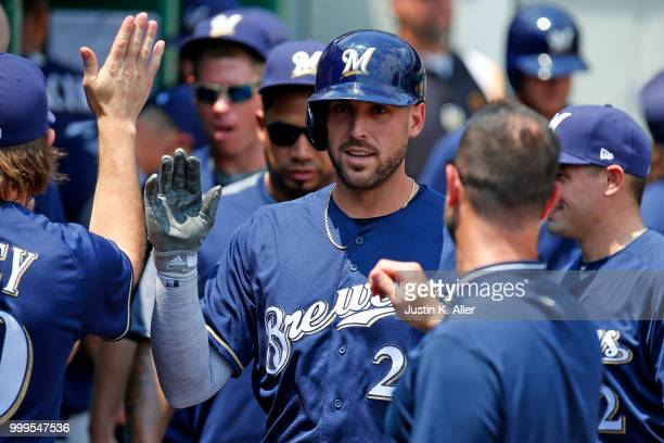 Travis Shaw of the Milwaukee Brewers celebrates after hitting a home run in the second inning against the Pittsburgh Pirates at PNC Park on July 15...