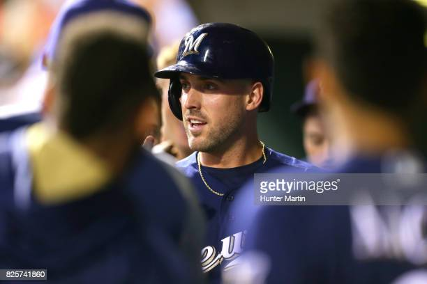 Travis Shaw of the Milwaukee Brewers during a game against the Philadelphia Phillies at Citizens Bank Park on July 22 2017 in Philadelphia...