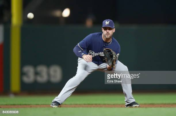 Travis Shaw of the Milwaukee Brewers fields the ball against the San Francisco Giants at ATT Park on August 21 2017 in San Francisco California