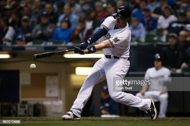 Travis Shaw of the Milwaukee Brewers grounds out in the sixth inning against the Arizona Diamondbacks at Miller Park on May 22 2018 in Milwaukee...